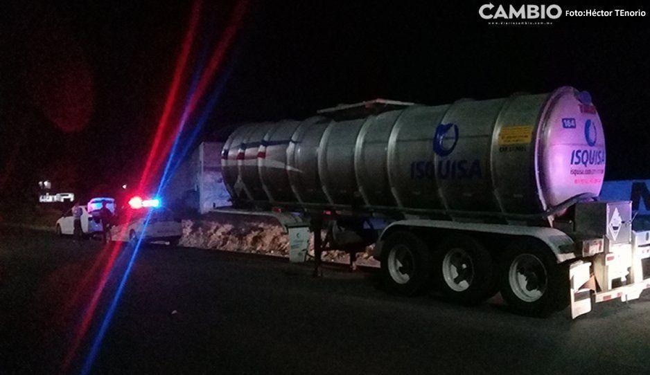 Localizan en Texmelucan contenedor con ácido fosforito robado sobre la Autopista México-Puebla