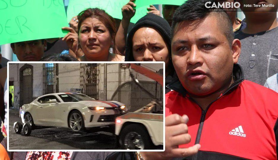 ¡Ay papá! Líder de ambulantes detenido se compró Camaro de un millón 600 mil pesos y circulaba sin permiso