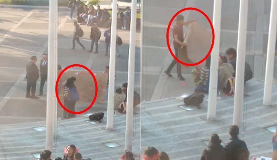 ¡Frente a toda la prepa! Primer soldado caído en este 14 de Febrero (VIDEO)