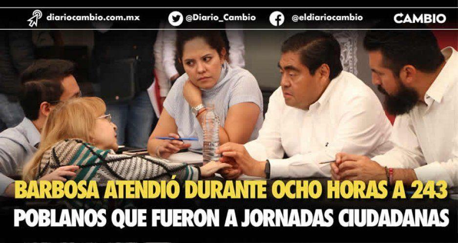 Dedica Barbosa 8 horas en la Jornada Ciudadana para atender a 243 poblanos; rompe récord de servicio al cliente (VIDEOS)