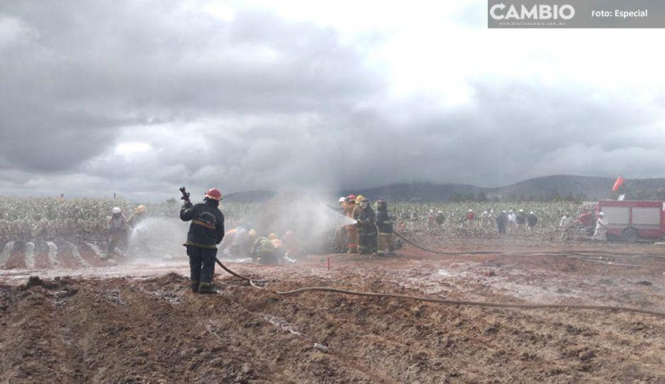 Después de 40 horas logran sofocar incendio tras megafuga de gas en Acajete
