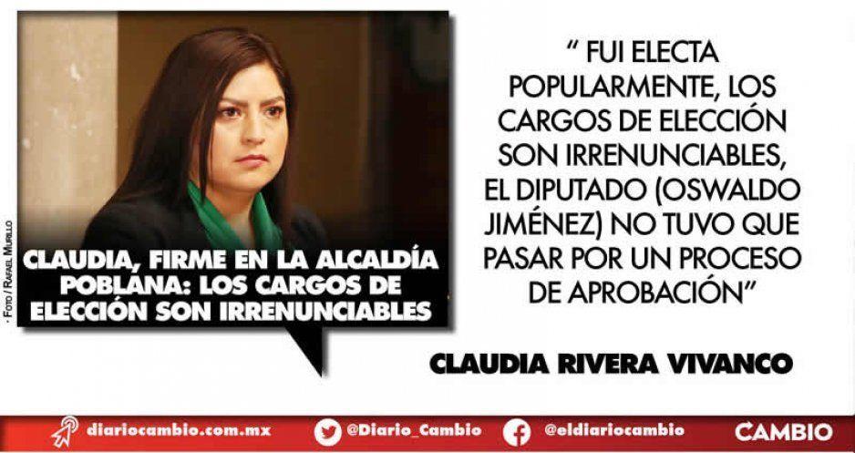 Claudia, firme en la alcaldía poblana: no voy a renunciar