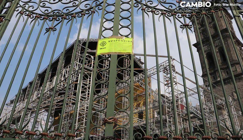 INAH suspende obra de la Capilla Sixtina en la Catedral por dañar las lajas del atrio (FOTOS)