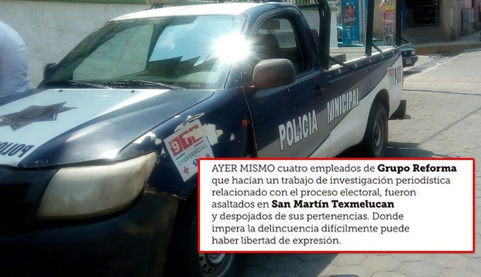 Asaltan a reporteros de Reforma en Texmelucan mientras realizaban un trabajo de investigación