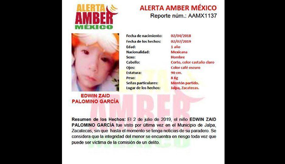 Se activa la Alerta Amber por la desaparición de Edwin Zaid de solo dos años de edad