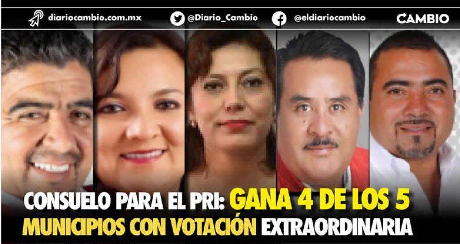 Consuelo para el PRI: gana 4 de los 5 municipios con votación extraordinaria