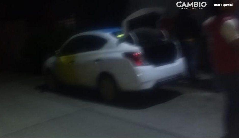 ¡Entonces para qué está la Policía! Taxistas recuperan unidad robada sin ayuda en Tlalancaleca