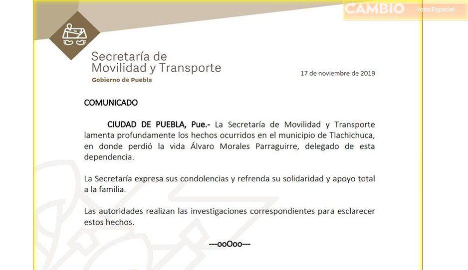 Confirma la Secretaría de Movilidad que Morales Parraguirre era delegado de la dependencia