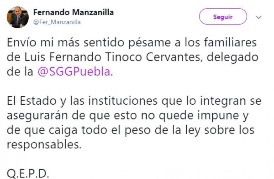 Fernando Manzailla envía pésame a familiares de Luis Fernando Tinoco
