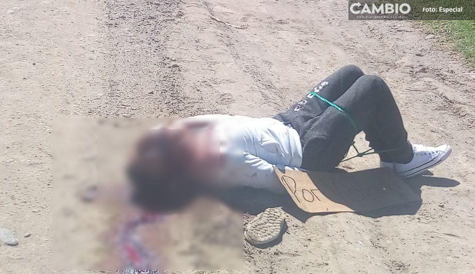 """Con el mensaje """"Por violador"""" dejan cadáver en Texmelucan"""