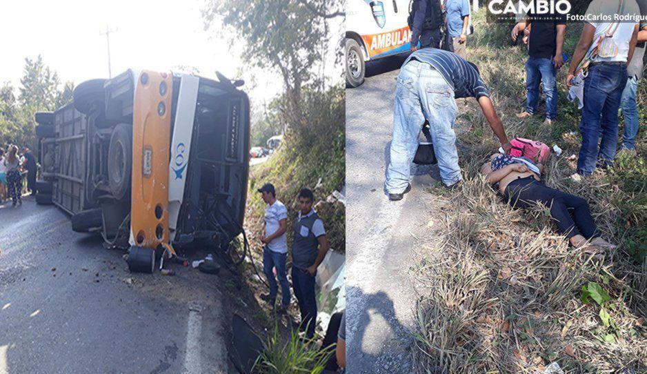 Aparatosa volcadura en la federal México-Tuxpan deja a siete lesionados