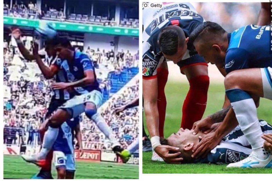 Jugador del Monterrey sufre traumatismo craneoencefálico tras choque con defensa poblano (VIDEO)