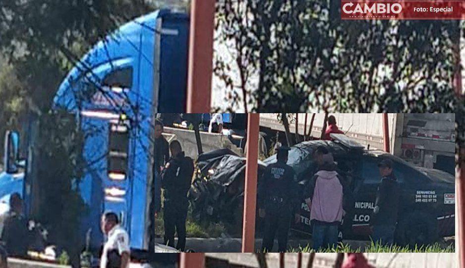 Municipales destrozan patrullas en supuesto intento de robo en Tecamachalco