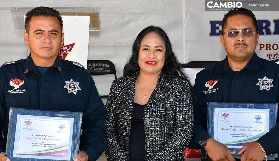 Reconoce Lupita Daniel a Policías Municipales de Cuautlancingo