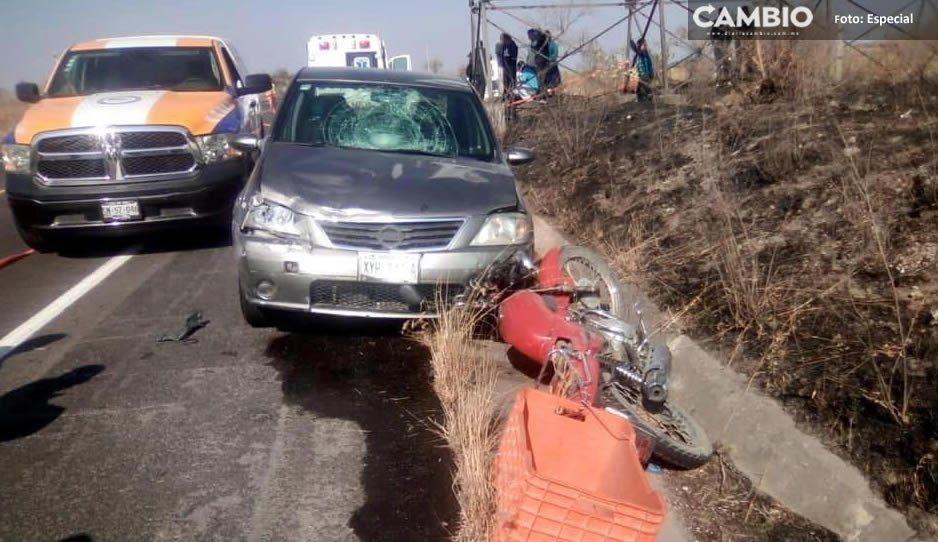 Muere motociclista de 17 años tras ser impactado por automovilista a exceso de velocidad en Atlixco