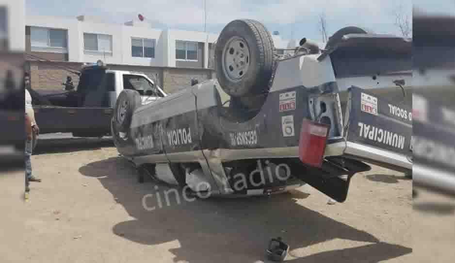 Policías de Ocoyucan sufren terrible accidente durante persecución