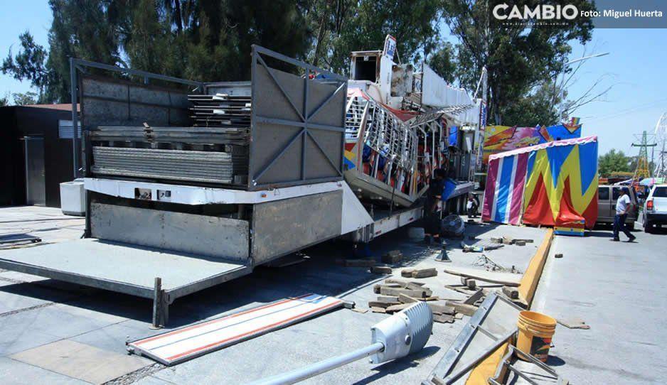 Feria de Puebla no está lista a horas de su arranque, aún no colocan todos los juegos y stands (FOTOS)