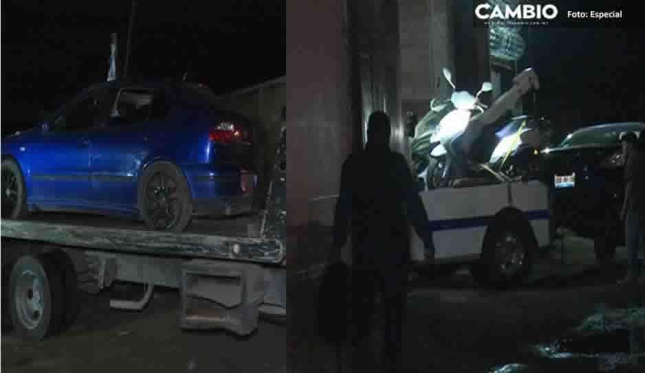 Rata de vehículos se avienta a un pozo para evitar ser detenido en San Pedro Cholula