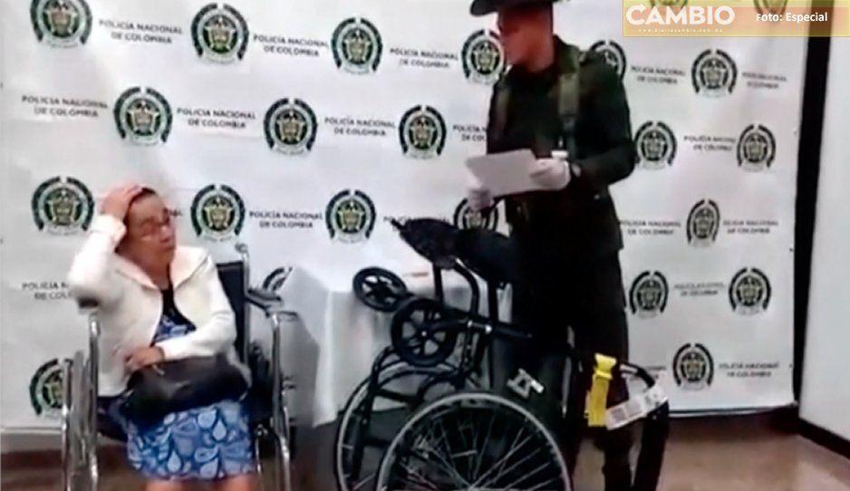Detienen a viejita de 81 años con 3 kilos de cocaína en su silla de ruedas