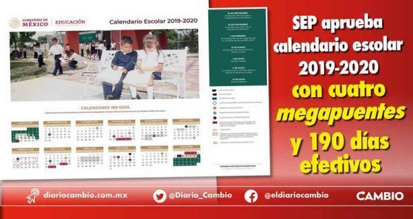 Calendario Diario 2020.Sep Aprueba Calendario Escolar 2019 2020 Con Cuatro