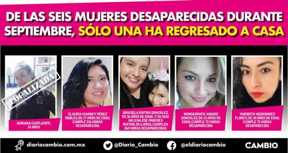De las seis mujeres desaparecidas durante septiembre, sólo una ha regresado a casa