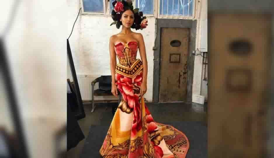 Eiza González luce espectacular con cobija de San Marcos como vestido