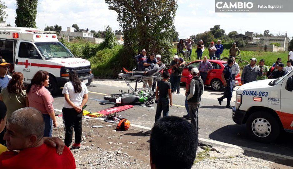 Padre del año se lleva a su familia en una moto y terminan con los huesos rotos tras ser arrollados en la México-Puebla