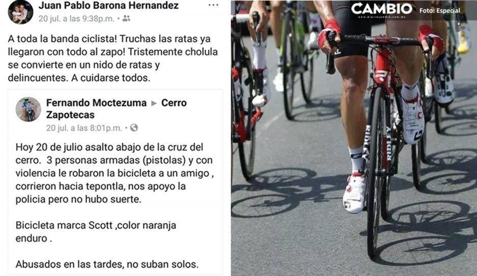 Inseguridad en San Pedro Cholula le pega a deportistas: A punta de pistola atracan a ciclistas