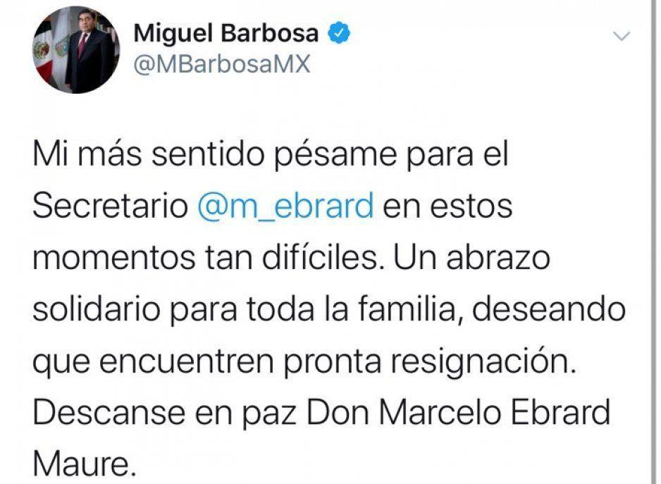 Barbosa lamenta la muerte del padre de Marcelo Ebrard
