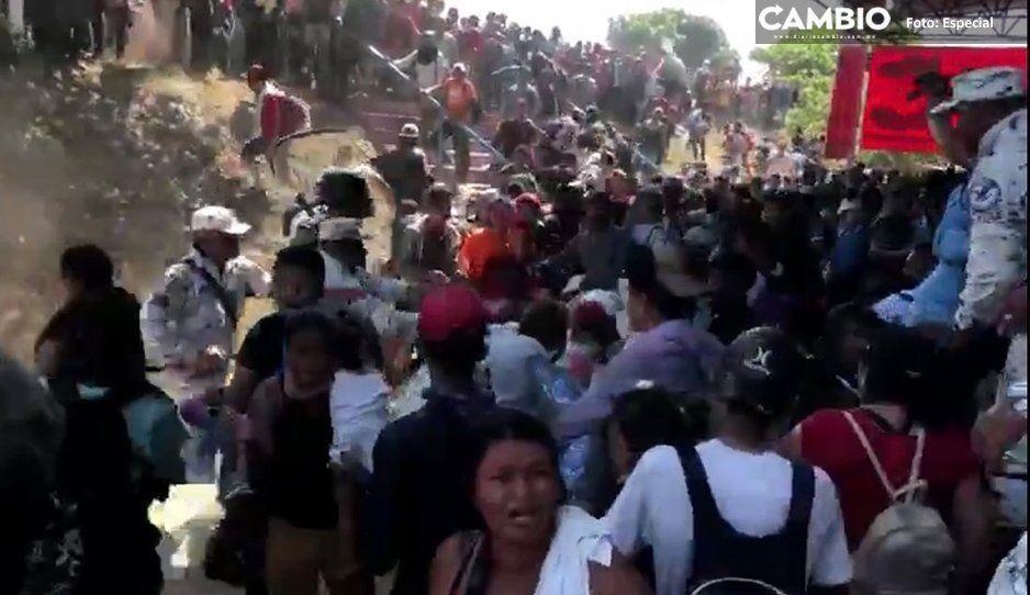 Enfrentamientos entre la Guardia Nacional y migrantes en la frontera sur (VIDEO)