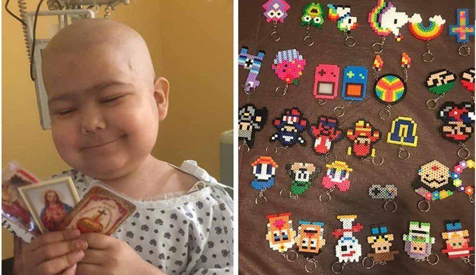 Esta es la historia de Gian, niño con cáncer que vende llaveritos para comprar su medicamento