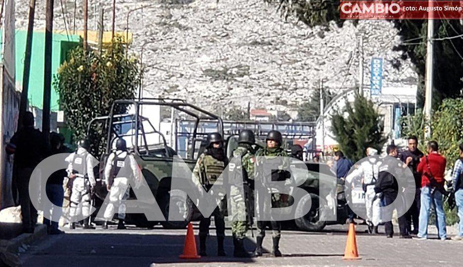 En persecución, chocan dos vehículos de la GN en Tepeaca; hay dos oficiales heridos (FOTOS)