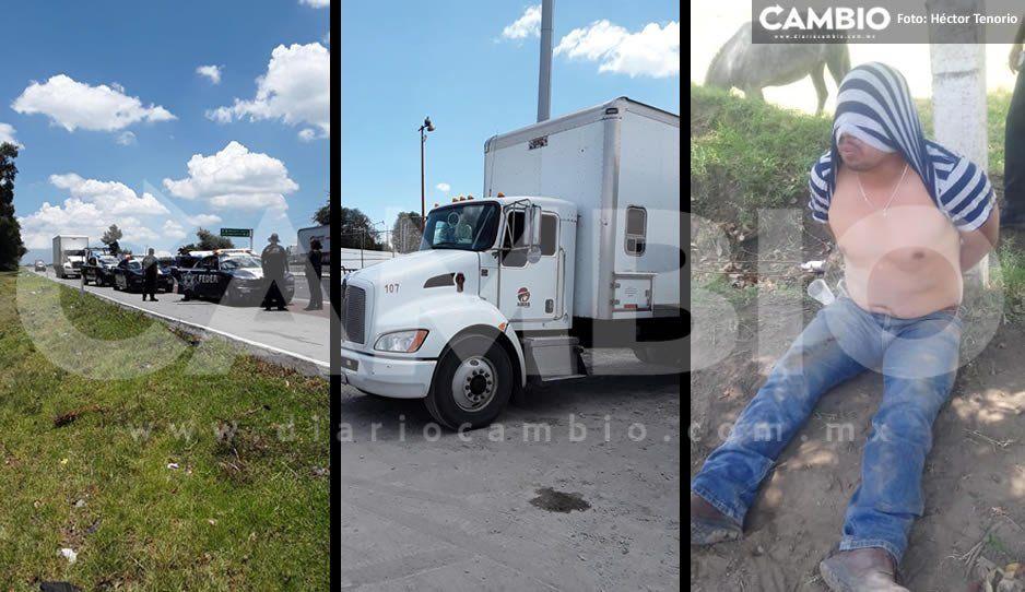 Policías de Texmelucan se enfrentan con ladrones en la México-Puebla: detienen a uno y rescatan a chofer