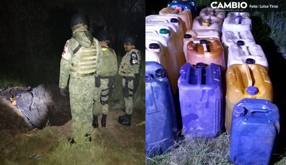 Aseguran toma clandestina y 16 garrafas con hidrocarburo en Coronango