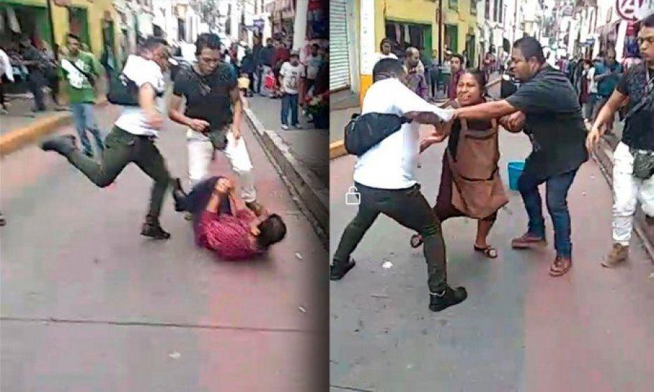 Inspectores de Huauchinango humillan y patean a pareja de vendedores indígenas (VIDEO)