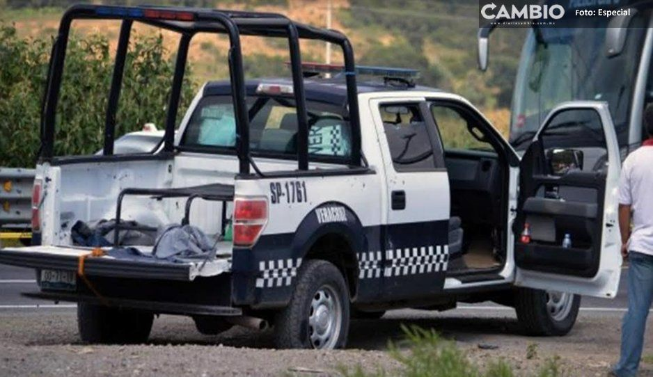 Policías de Texmelucan aseguran camioneta de presuntos asaltantes