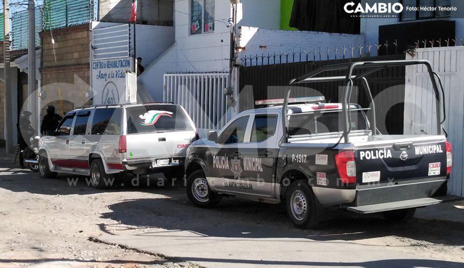 Policías realizan operativo en centro AA de Texmelucan