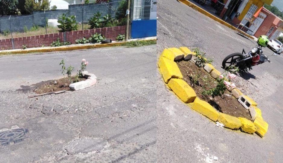 Vecinos transforman un megabache en una maceta en Atlixco