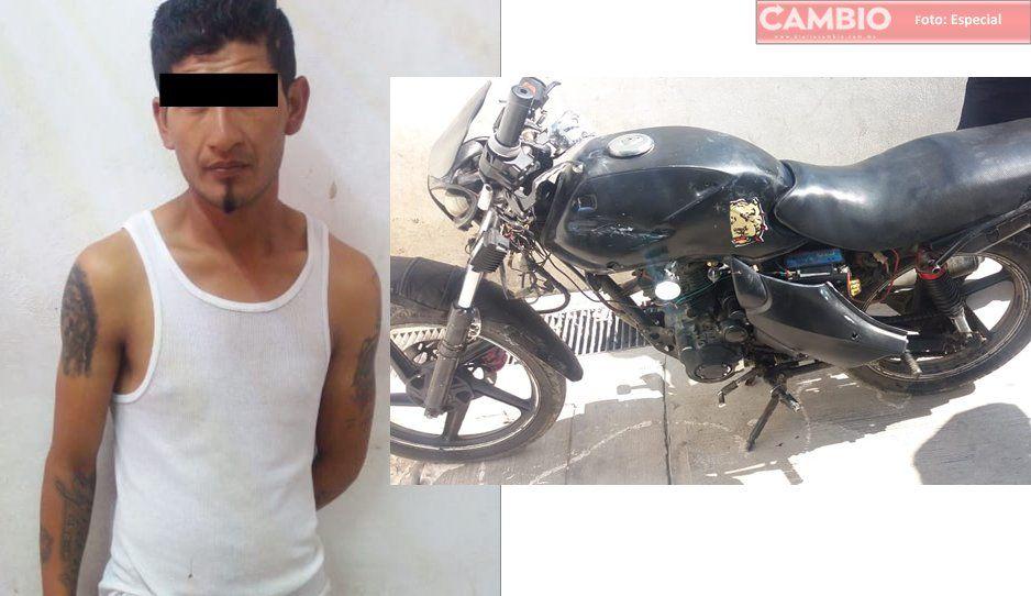 ¡Cae otra rata en Amozoc! Policías detienen a un hombre con vehículo robado y drogas