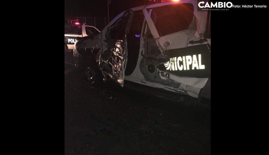 Choca patrulla municipal de Huejotzingo; hay un lesionado