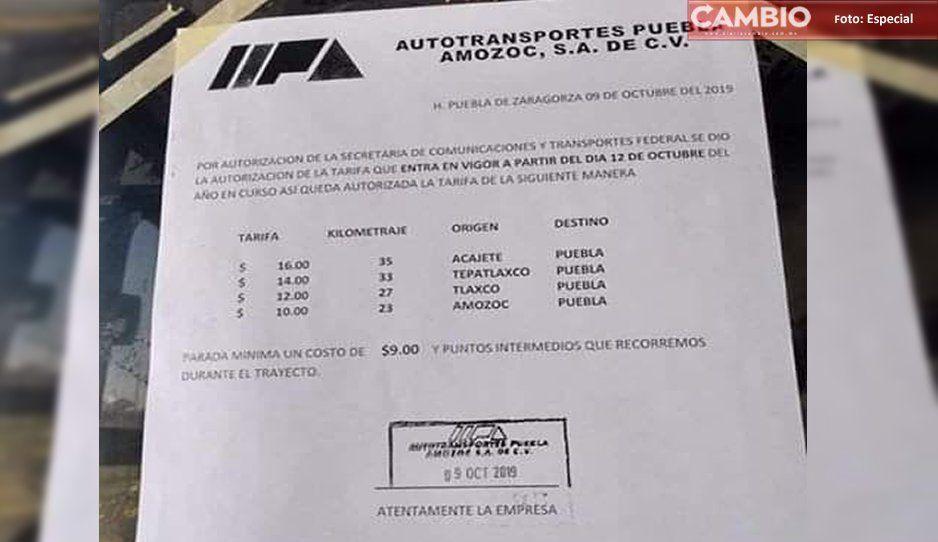 Ruta Amozoc anuncia aumento de cuatro pesos: costará 10 pesos