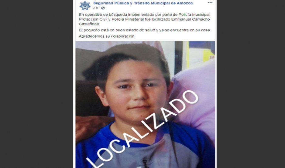 Localizan a menor que había desaparecido afuera de su escuela en Amozoc