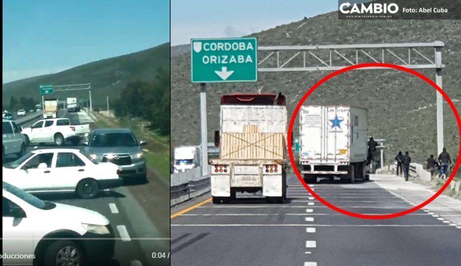 ¡Pánico en la autopista Puebla-Casa Blanca! Comando armado atraca automovilistas (VIDEO)