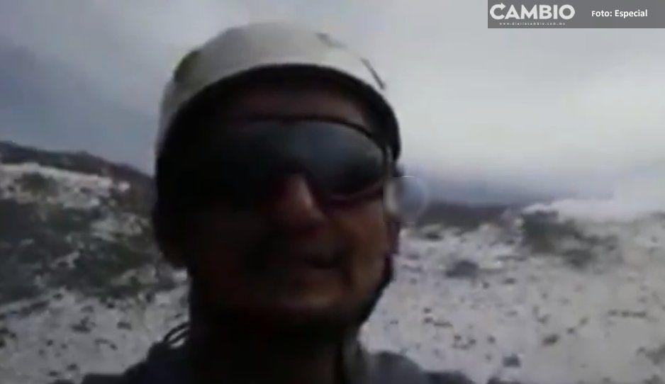 ¡Sin temor alguno! Excursionista sube al cráter del Popo (VIDEO)