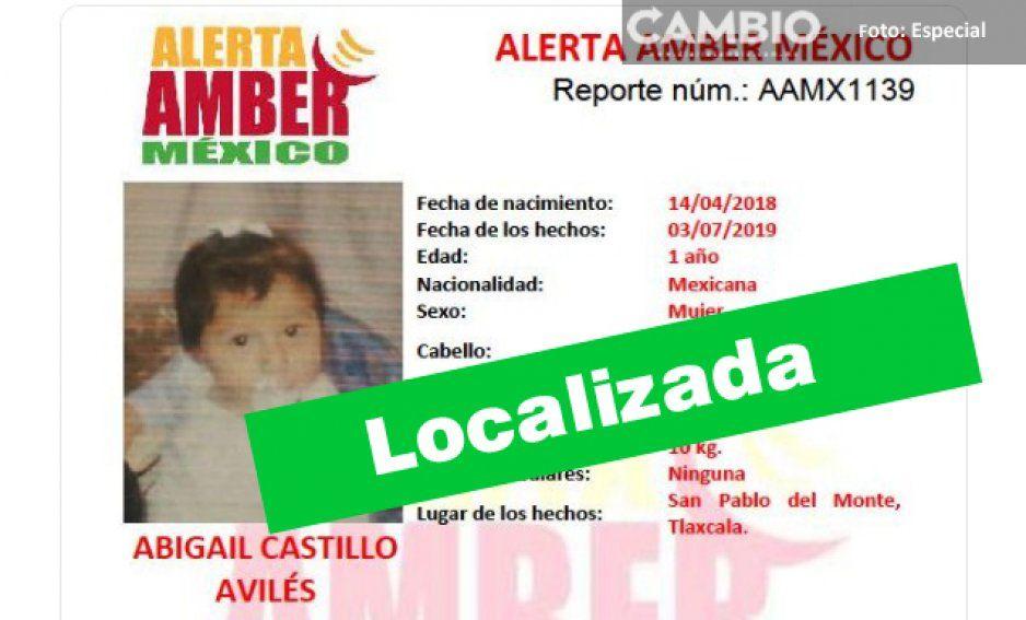 Localizan en La Margarita a niña de un año secuestrada en San Pablo del Monte