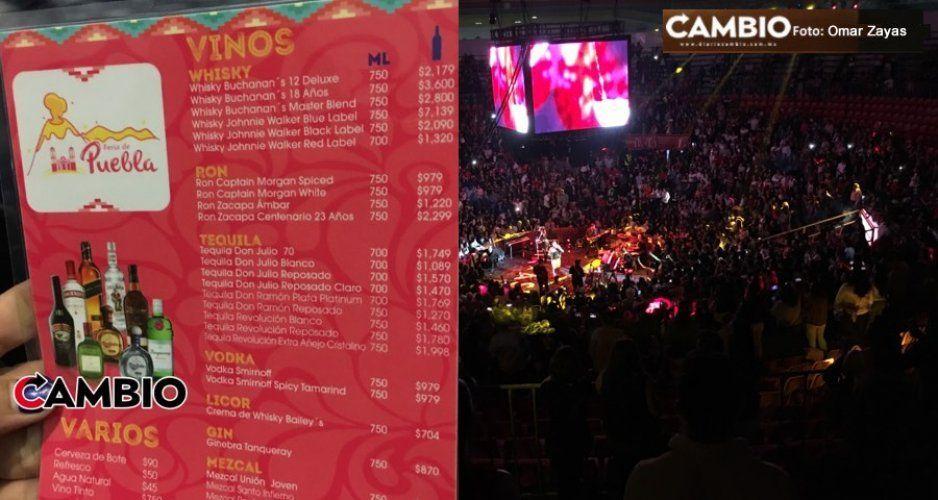Estos son los costos del Palenque: Cervezas 100 pesos, botellas desde 900 hasta 7 mil pesos