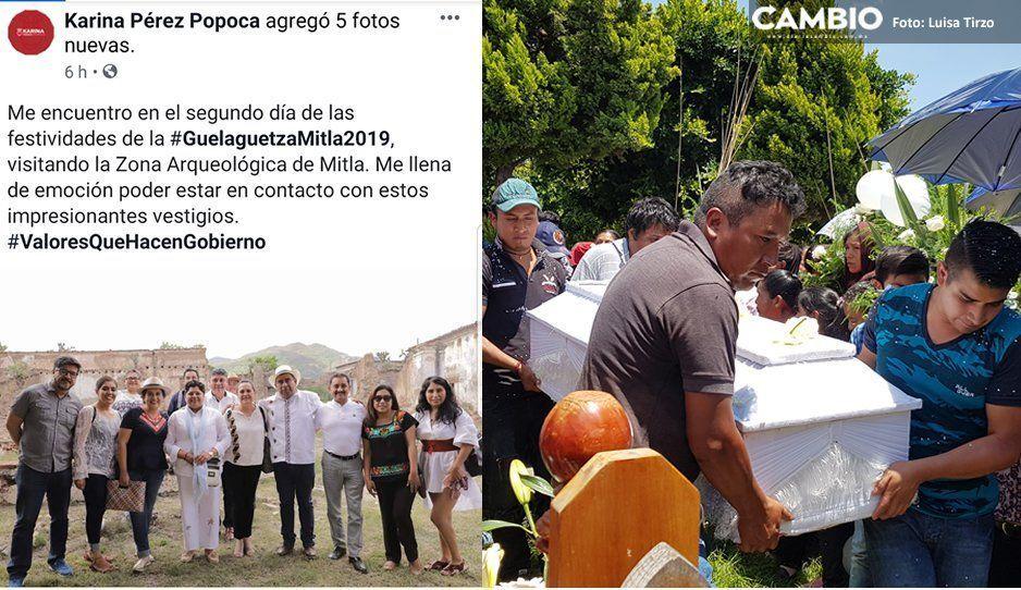 Karina Pérez calla ante muerte de Micky y sigue turisteando en la Guelaguetza