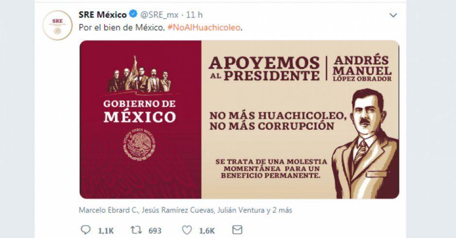 Cuentas de Twitter de gobierno piden apoyo para AMLO contra el huachicoleo; la Constitución lo prohíbe