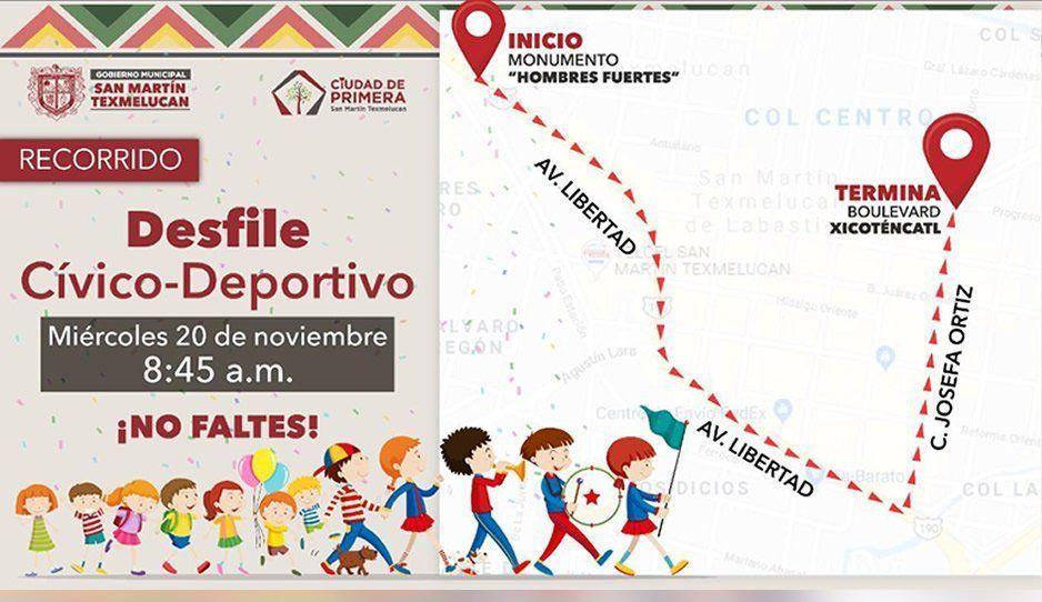 Conoce el recorrido del desfile por el 109 aniversario de la Revolución Mexicana en Texmelucan