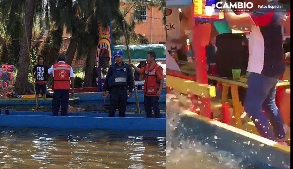 VIDEO: Poblano se ahoga al caer de una trajinera en Xochimilco; festejaba su cumpleaños